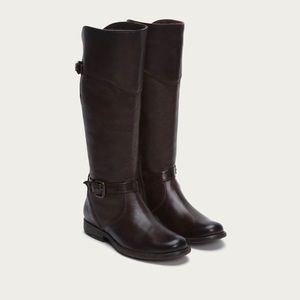 Frye Phillip Riding Boots Extended Calf Dark Brown